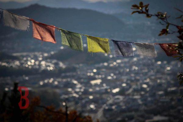japan himeji mountain flags
