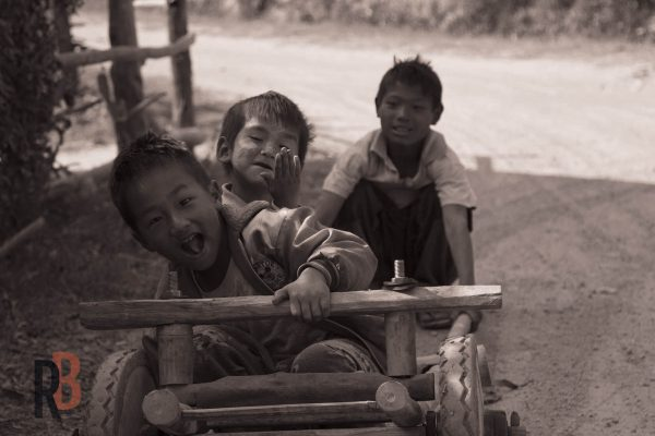Kids in a village in myanmar